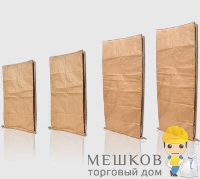 Мешок бумажный с прошитым дном 3-х слойный