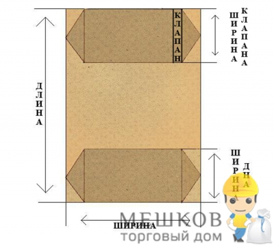 Мешок бумажный,  2-х слойный
